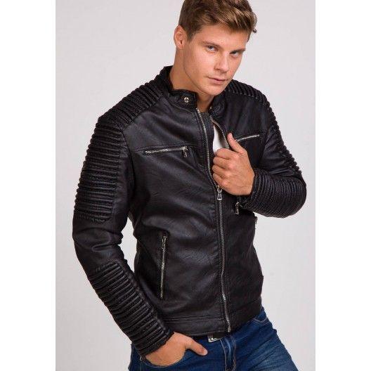 Pánska prešívaná kožená bunda v čiernej farbe - fashionday.eu