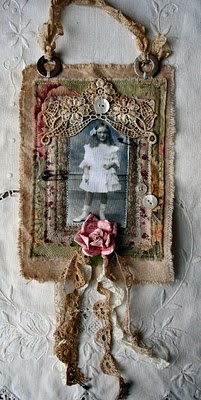 Fabric collage with vintage photo: Nancy Maxwell, Maxwell James, Vintage Photos, Fabrics Art Collage, Mixed Media, Altered Art, Altered Collage Assemblages, Vintage Photo Tags, Fabrics Collage