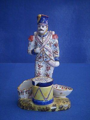 #1 FRENCH FAIENCE SOLDIER CRUET SET - ROUEN - Pottery figure mustard salt pepper   #487950662