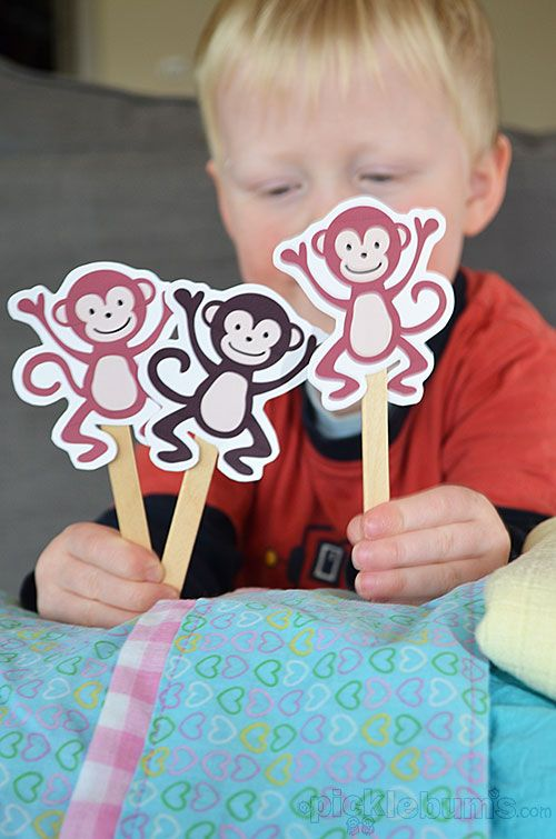 Five Cheeky Monkeys and a Crocodile! Free printable puppets -- for lesson on obedience (no more monkey jumping on the bed!)