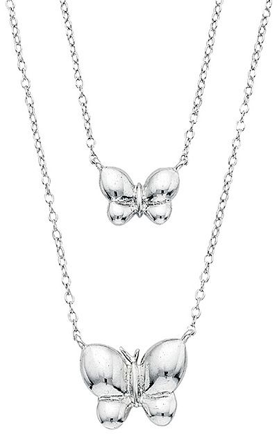 Sterling Silver Double-Butterfly Pendant Necklace
