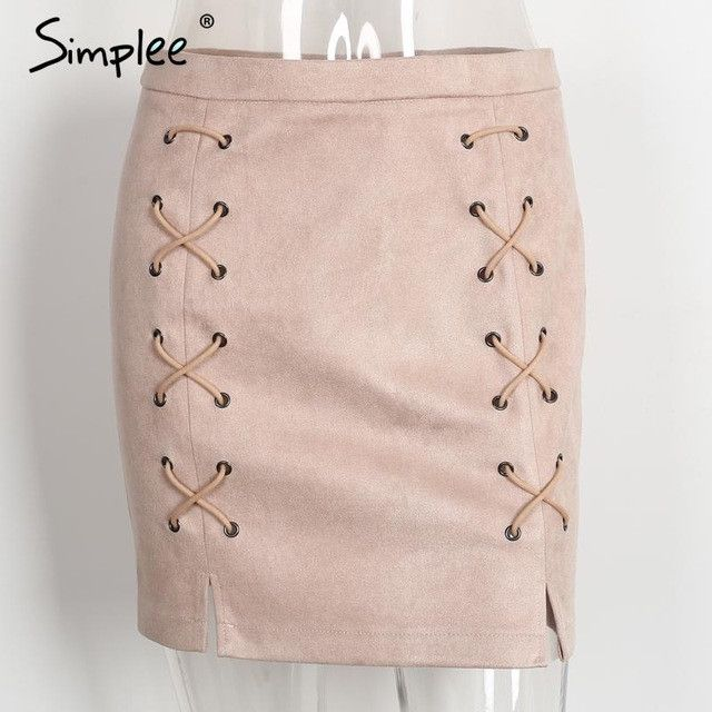 Sexy pockets leather suede pencil skirts women bottom Bodycon zipper short mini skirt High waist black skirt 2017