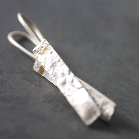 New! Keum-Boo Silver Drop Earrings, Handmade, Reticulated Sterling Silver & 24ct Gold Earrings http://www.bestjewelry4you.com/
