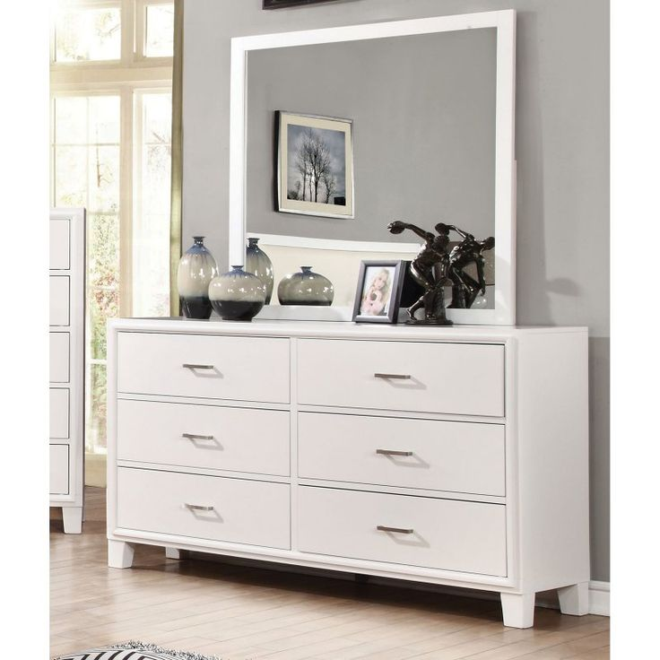 Furniture Of America Bevan 6 Drawer Dresser With Mirror White Idf 7068wh Dm