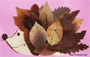 preschool fall crafts - hedgehog made of leaves