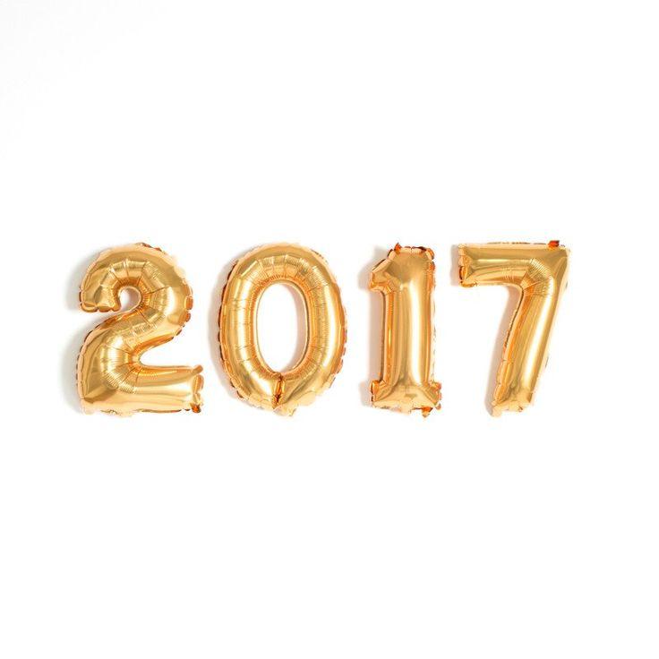 """NYE 2017 14"""" Gold Mylar Balloons"""