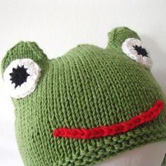 Cappellino ranocchio da bambino/a in lana merino taglia 3-5 anni