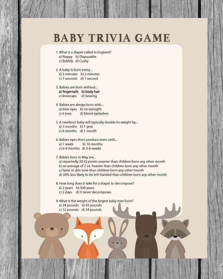 printable baby shower trivia game woodland animal theme print it baby