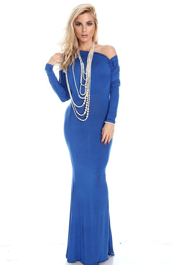 royal blue maxi dress#knit maxi dress#off shoulder maxi dress#flare maxi dress#sexy maxi dress#women maxi dress#cheap maxi dress