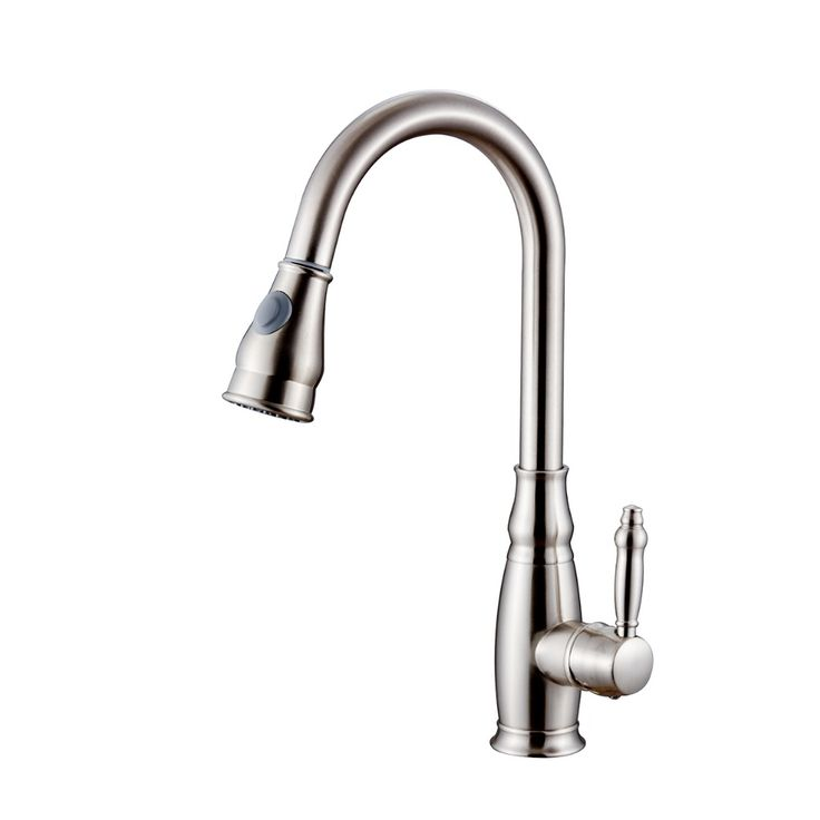 Brushed Nickel Pull Out Pull Down Kitchen Sink Faucet FLG8676N Single Handle Nickel Brushed