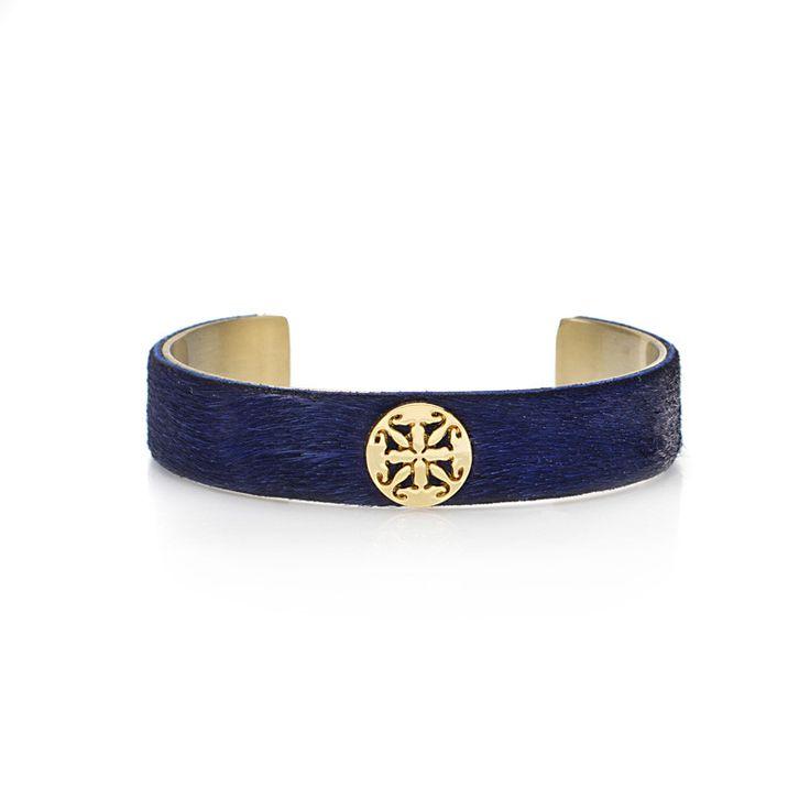 """Calfskin Cobalt Blue .5"""" Gold with Gold Logo"""