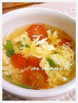 トマトと水菜の卵スープ レシピ・作り方 by mane11|楽天レシピ
