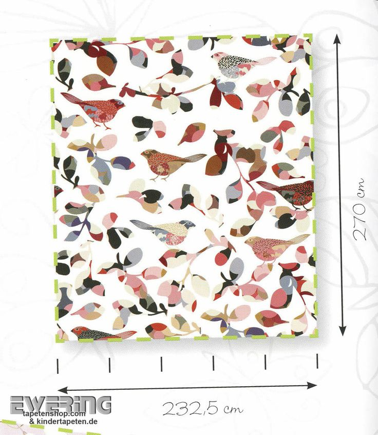 Little Ones 23-415065 Rasch Textil bunt weiß Vögel Wandbild glatt