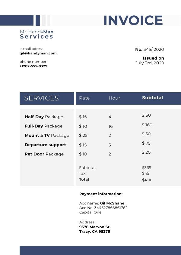 Services Invoice Example Template Invoice Example Templates Invoice Template