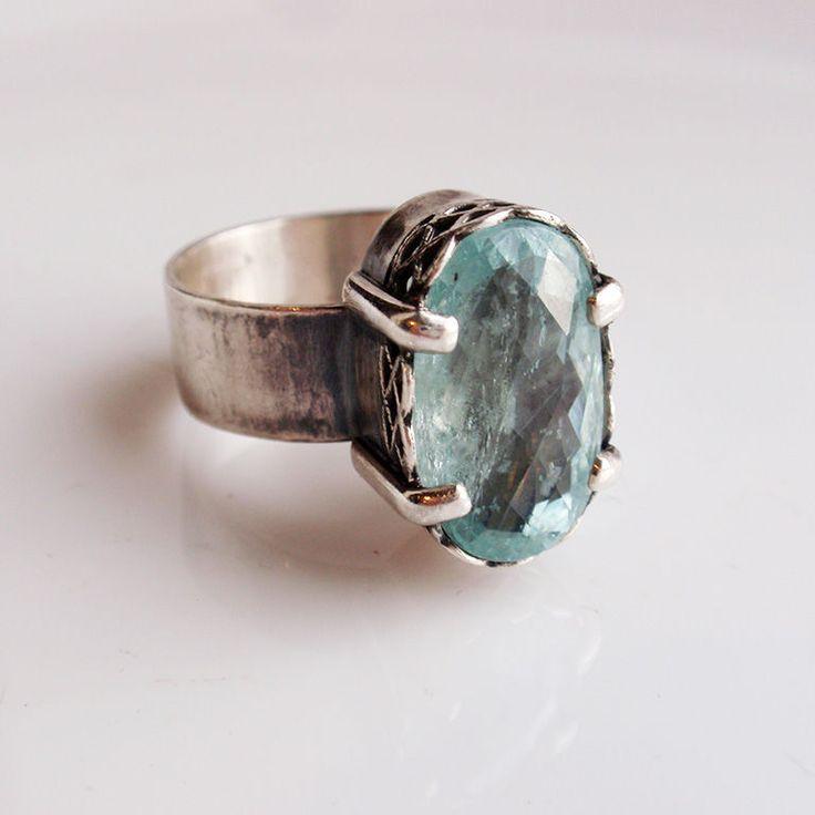 """Кольцо """"Mediterraneum"""". Аквамарин, серебро. - кольцо с аквамарином"""