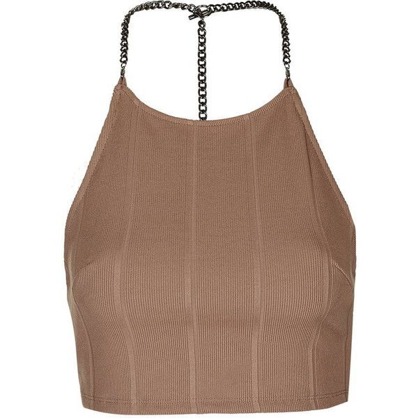 TopShop Chain Bandage Crop Top (60 AUD) ❤ liked on Polyvore featuring tops, nude, bandage top, brown crop top, spaghetti-strap top, chain strap top and topshop