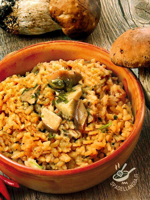 Il Risotto rosso ai funghi porcini è un primo appetitoso con tutto il sapore e gli aromi del bosco! Soffice e ben mantecato, invita alla prima forchettata!