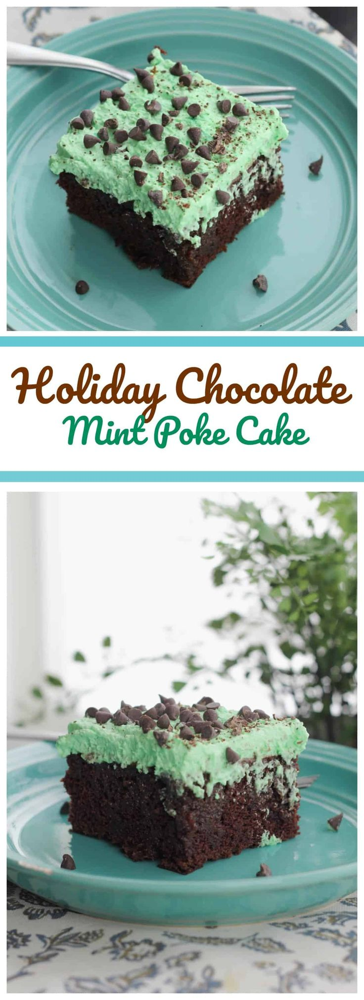 Holiday Chocolate Mint Poke Cake - We absolutely adore this Holiday Chocolate Mint Poke Cake! It's got a fluffy 'phat' layer of mint green whipped topping on top of a luscious chocolate cake drenched with a sweetened condensed Andes Creme de Menthe fudge filling! YUM