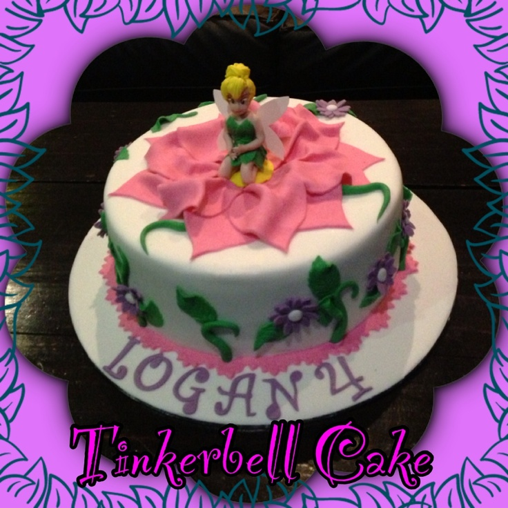 Tinkerbell cake with hand crafted sugar figurine