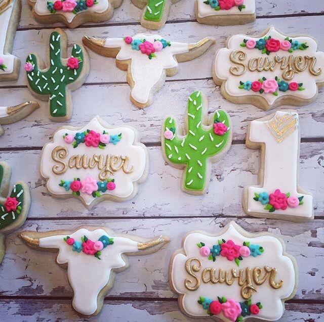 Floral cow skull cookies