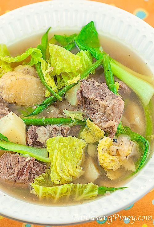 Beef Nilaga Soup.  Filipino beef soup that will make all your colds feel better.  Hopefully this will taste just as great as my mom's :)  We put Bok choy, green beens and potatoes in ours.