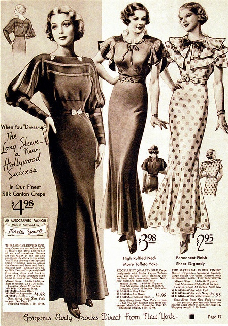 Love the polka dots and bow embellishments in this 1935 ad for Loretta Young fashions #vintage