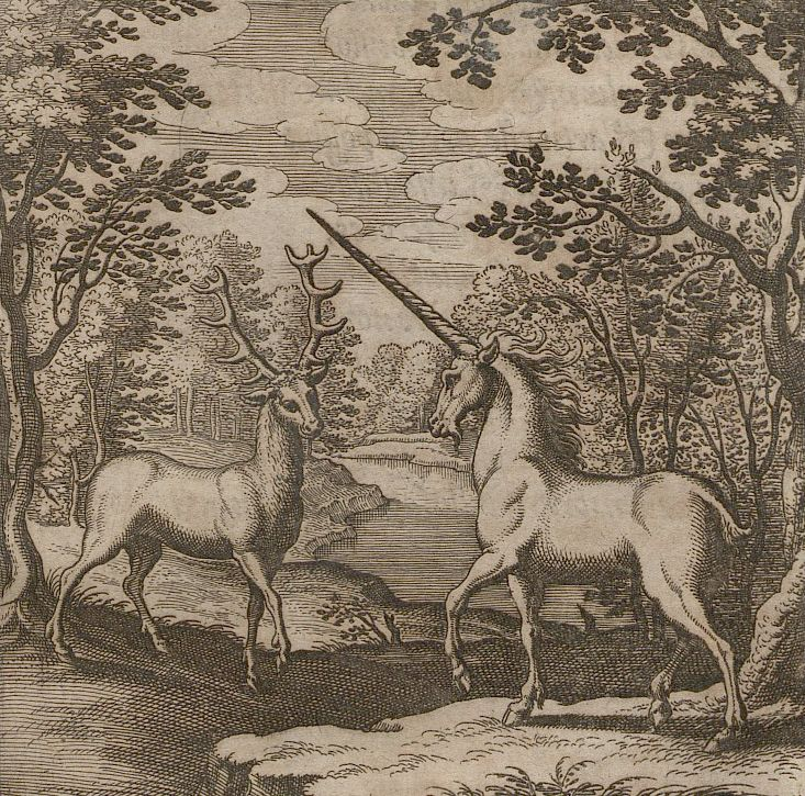 """deathandmysticism: """"Alchemic engraving with a red deer and unicorn, Theosophie & Alchemie, 1678 """""""
