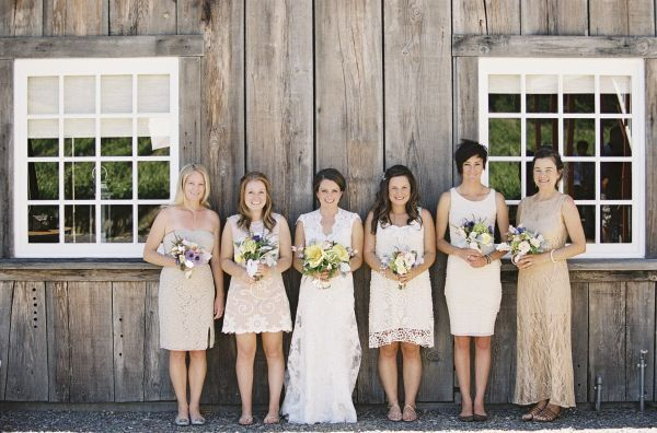 Real Bridesmaids In Beige Bridesmaid Dresses: Cream And Beige Napa Valley Wedding