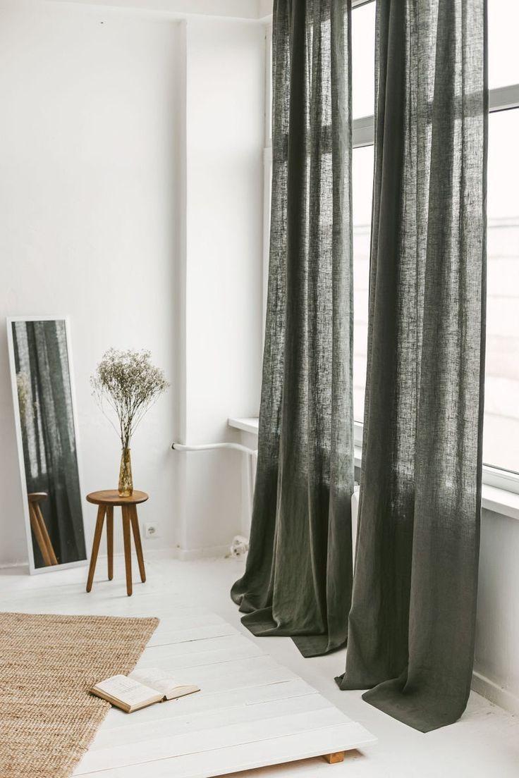 Extra Long Linen Curtain Safari Linen Window Drape Stonewashed