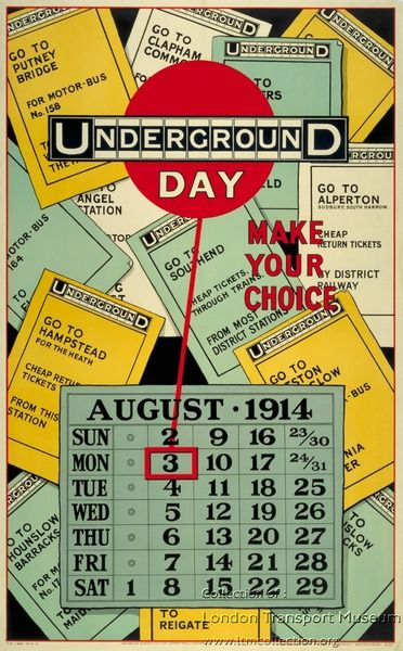 ¤ Bank Holiday - British Underground Calendar August 1914