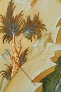 """6_SecureaÎn partea inferioară a icoanei, la picioarele Sfântului Ioan Botezătorul este reprezentat un arbust la baza căruia stă o secure, rezumat cutremurător al învăţă-turii date de acesta fiecărui nou botezat: """"Iată securea stă la rădăcina pomilor şi tot pomul care nu face roadă bună se taie şi se aruncă în foc. Eu unul vă botez cu apă spre pocăinţă, dar Cel ce vine după mine, vă va boteza cu Duh Sfânt şi cu foc."""" (Matei 3, 10-11)"""