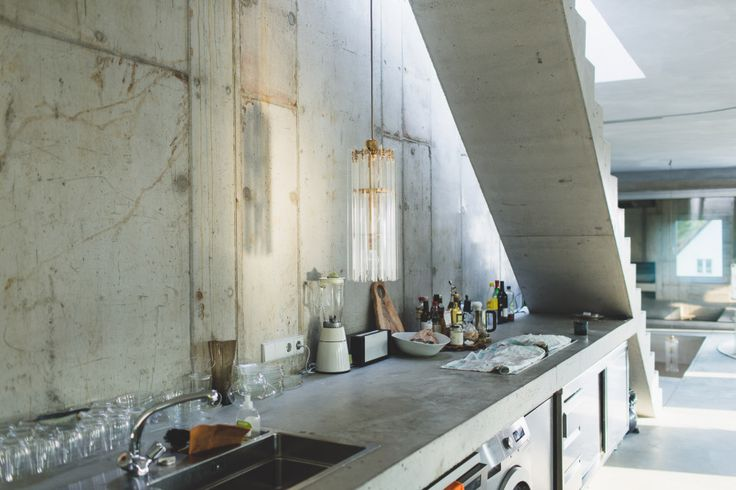 Arno Brandlhuber. Anti-villa Kitchen. Concrete, stainless steel.