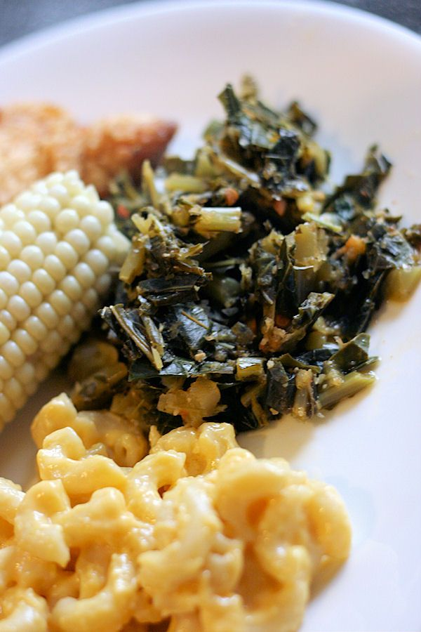 Vegetarian Collards. Funny how you have to specify that a vegetable is made vegetarian. Thank you, southern food. :)