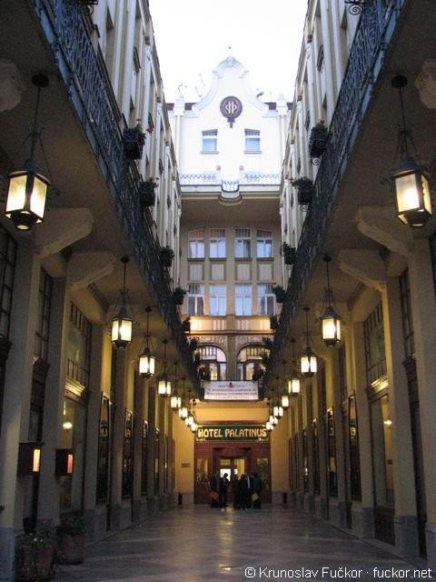 Pecs Hungary - entrance to Palatinus Hotel  Just beautiful