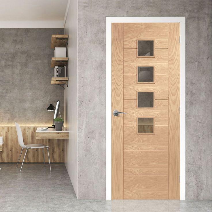 Bespoke Palermo Oak Fire Door with Obscure Fire Glass - 1/2 Hour Fire Rated.    #oakdoor #firedoor  #bespokedoor #moderninteriordoor #newdoor #dooridea #interiordesitgn #door #doors#bespokefiredoor
