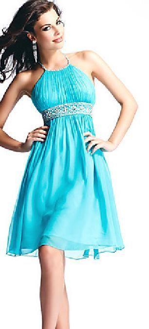 Cute Blue A-Line Sleeveless Halter Empire Prom Dress Sale homecoming dress