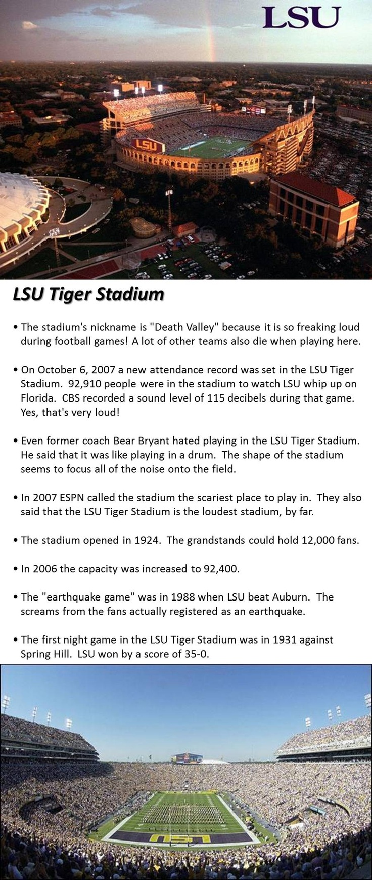 LSU - Louisiana State University Tigers - pix and history of Tiger Stadium , aka - Death Valley - football