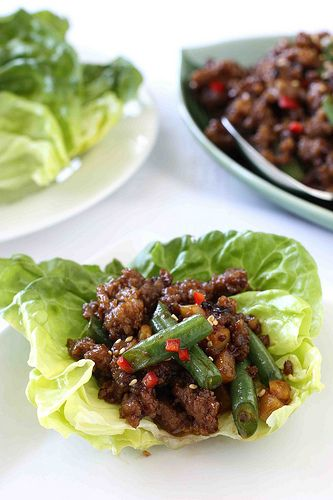 Pork & Green Bean Lettuce Wraps