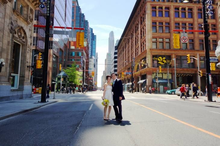 Yonge street, Toronto city buildings. as a wedding photo session backdrop.
