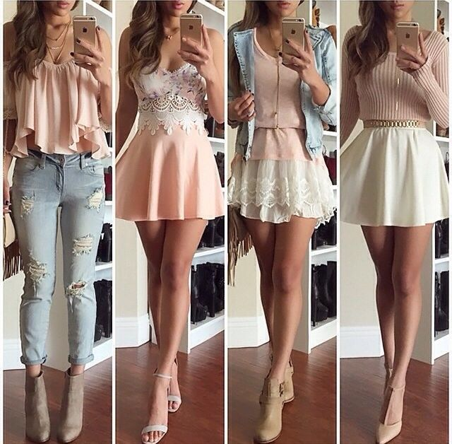 Outfit obsessions!! light pastel colours #dress #jeans #everyday #dressup #casual #pastel #lace