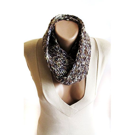 Brown hand knit cowl winter cowl neck warmer by selenayselenay, $35.00