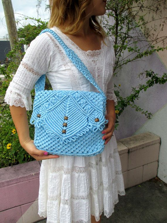 Sky Blue Macrame Shoulder Bag by YesterDazeVintageFL on Etsy