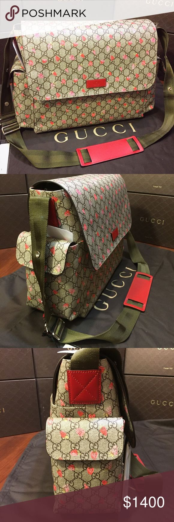 Gucci Baby Diaper Bag Wild Strawberry Print. NEW Gucci Baby Diaper Bag. Wild Strawberry Print on GG Supreme Coated Canvas. Fully lined brown nylon interior. 3 exterior pockets, 3 interior pockets. Includes Gucci Diaper changing pad. Adjustable shoulder strap. Includes Gucci Dust bag. Gucci Bags Baby Bags