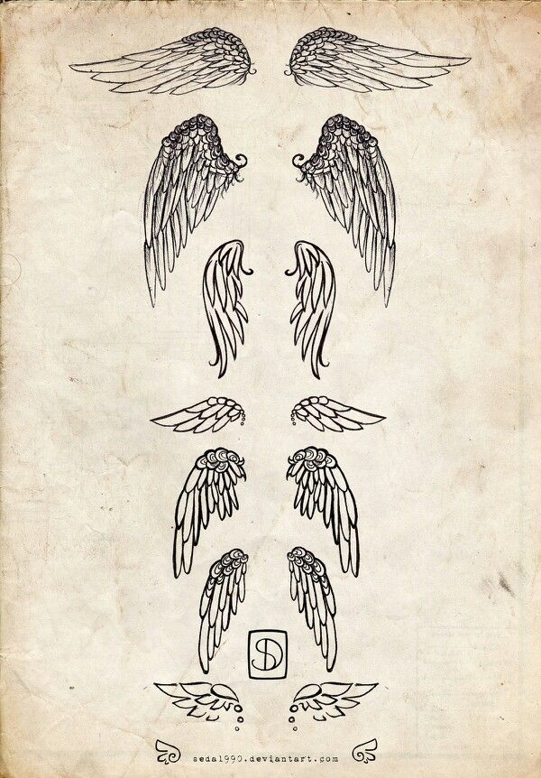 Angel wings tattoo idea - love the bottom one. Either on the wrist or lower back