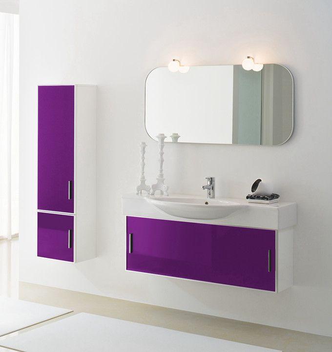 Meuble Design Salle De Bain Olany 1m Blanc Violet Colonne 140cm