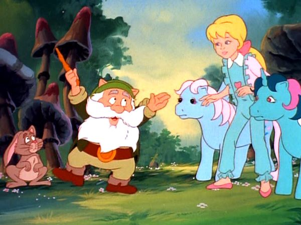 The My Little Pony Movie...I believe that they are trying to get this magic little gnome to give them a new house