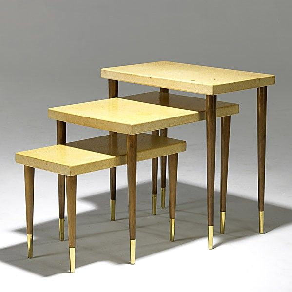 Paul Frankl; Mahogany, Cork and Brass Nesting Tables for Johnson Furniture, 1950s.