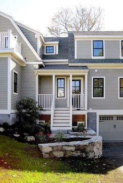 Traditional Grey Siding With White Trim Design Ideas, Pictures, Remodel and Decor