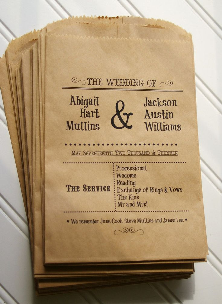 Wedding Ceremony Programs Printed on Kraft Paper Bags from Anna Lou Avenue / as seen on www.BrendasWeddingBlog.com