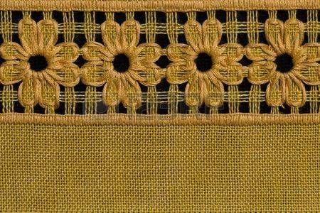 Flores a mano detalle mantel de crochet  Foto de archivo